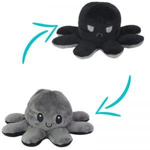 Peluche Pieuvre Noire - Peluche Pieuvre Réversible - Peluche Pieuvre