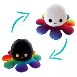 Peluche Pieuvre Multicolore - Peluche Pieuvre Réversible - Peluche Pieuvre