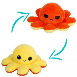 Peluche Pieuvre Orange - Peluche Pieuvre Réversible - Peluche Pieuvre